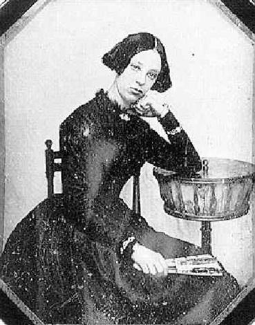 jeune fille accoudée à sa boîte à ouvrages by joseph auguste belloc