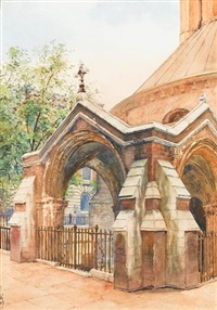 porch of temple church, london by yoshio markino