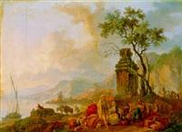 personnages orientaux et caravane dans un paysage de bord de mer by olivier le may