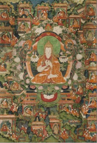 a set of three thangkas depicting the life of tsongkhapa by anonymous-tibetan (18)