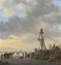 a wooden landing stage on a frozen river, churches and a windmill at left on the distant shore by jan josefsz van goyen