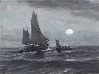 seascape in moonlight by carl ludvig thilson locher