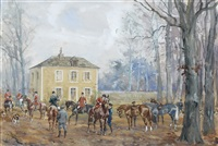 depart d'une chasse a courre by karl andré jean (baron) reille