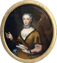 portrait de jeune femme tenant une partition by jean-martial fredou