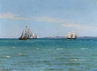 seascape with sailing ships out shore hornbæk by carl ludvig thilson locher