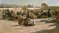 early morning market in samarkand by johannes leonhard