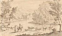 paysage de campagne à la rivière avec pâtres et leur troupeau by josua de grave