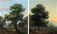 le chêne et l'hêtre ou joueur de cornemuse et son petit chien (2 works) by jean victor bertin
