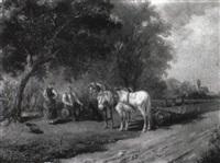 landschaft mit pferd vor dem pflug by ludwig cornelius-muller