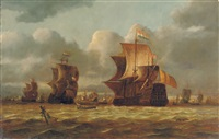 shipping in choppy waters with a shipwreck in the foreground by nicolas baur