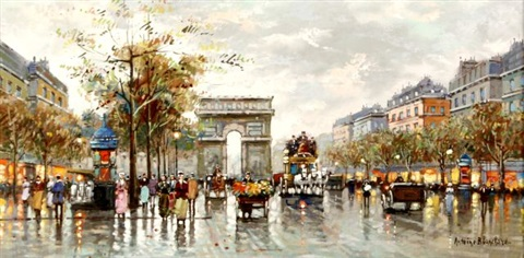 a view of arc de triomphe by antoine blanchard