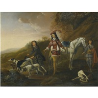 a gentleman resting during the hunt, his two page boys in attendance by françois verwilt