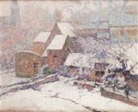 église de murols, neige irisée by victor charreton