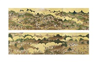 fuji no makigari (hunting in the foothills around mr. fuji) screens by anonymous-japanese (edo period)