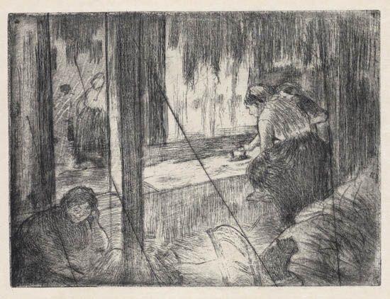 les blanchisseuses * la sortie du bain (2 works) by edgar degas