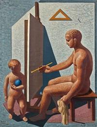 il pittore, femme nue à la guitare (recto/verso) by mario tozzi