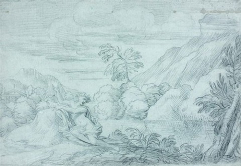 paysage avec une nymphe au bord de leau by michel corneille the younger