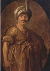 a bearded man in persian dress by aert de gelder