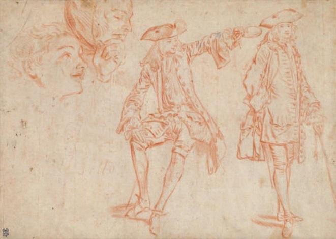 feuille détude personnages en pied et portraits study by jean antoine watteau