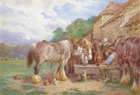 cart horses watering by charles james adams