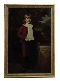 portrait of a young boy wearing a red suit by james sant