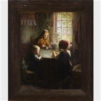 mother and her children in a farmhouse kitchen by cornelius christiaan zwaan