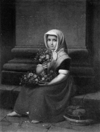 portrait of a girl with flowers by karl friedrich boser