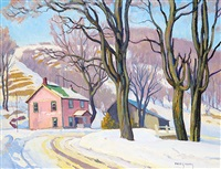 late fall, village road by frederick stanley haines