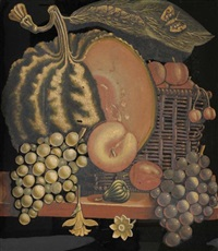 nature morte au panier de fruits by cyprien ginistry