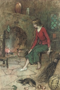 cinderella trying on her glass slipper by the hearth by warwick goble
