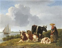 cattle by the river by leendert de koningh