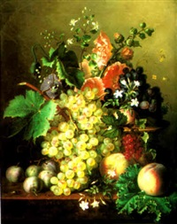 a still life with grapes and peaches and hollyhocks by ange louis guillaume lesourd-beauregard