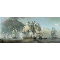 the battle of lake erie 1813, commander perry transferring his command from the lawrence to the niagara by robert trenaman back