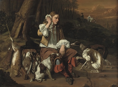 a young hunter at rest in a landscape by jan le ducq