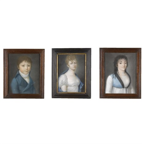 portraits a boy and two young women 3 works by italian school piedmont 19