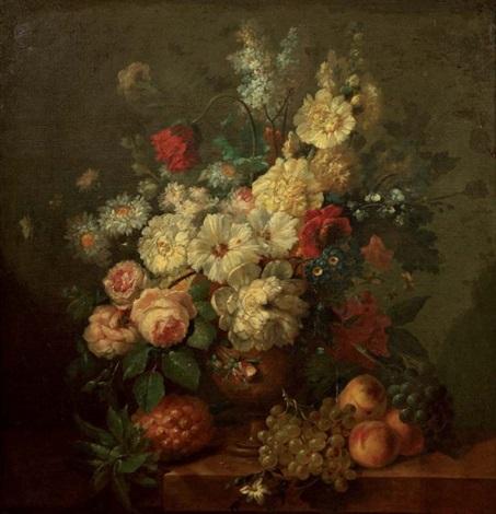 bouquet de fleurs et raisins by jan frans van dael