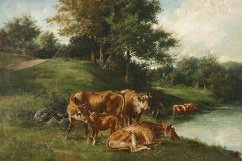 cows by a stream by edmund henry osthaus