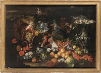 nature morte aux fruits, oiseau et orfèvrerie by christian berentz