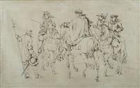 étude pour la tapisserie de la prise de dôle, louis xiv, le prince de condé, le duc d'enghien et le duc de roquelaure (study) by adam frans van der meulen
