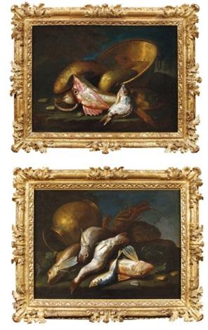 langouste rascasse rougets et cruche en cuivre poissons coquillages et chaudron de cuivre various sizes 2 works by elena recco