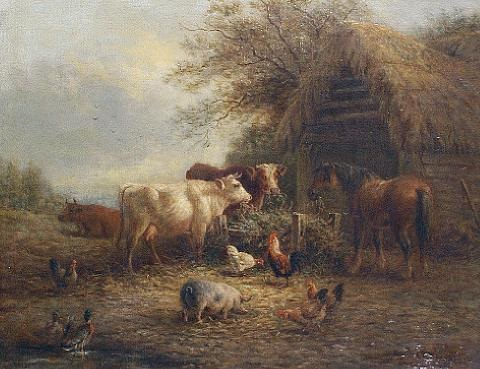 farmyard scenes (a pair) by henry charles bryant