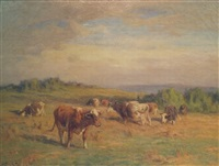 cows in a pasture by william henry howe