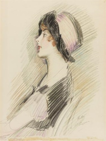 profile of a young lady by paul césar helleu