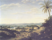 a brazilian landscape with natives on a road approaching a village by frans jansz post