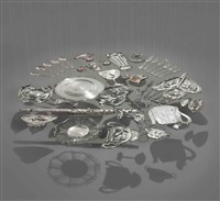 thirty pieces of silver (exhaled)- round plate (in 31 parts) by cornelia parker