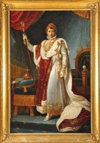 portrait de l'empereur napoléon ier en costume de sacre (studio of baron françois gerard) by marie elénore godefroy