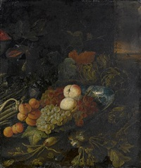 a dish with peaches, grapes and apricots, with artichokes, asparagus and figs on a table-top by philips gysels