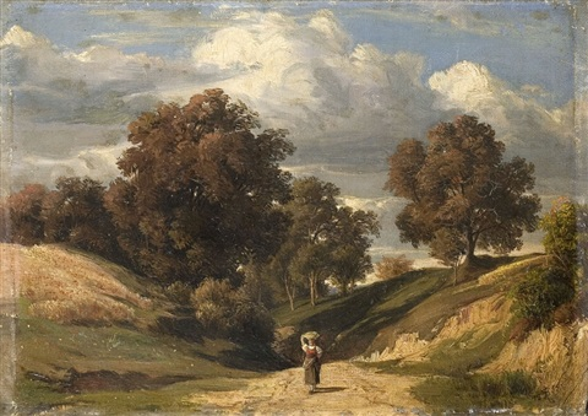 hügelige landschaft mit bäuerin by peter becker