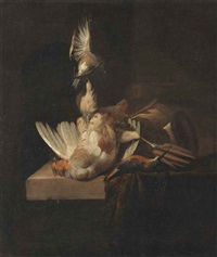 a finch suspended from a rope, a partridge and a kingfisher on a partially draped stone ledge by william gowe ferguson