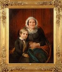 portrait d'une dame et de son petit-fils by jean baptiste van eycken